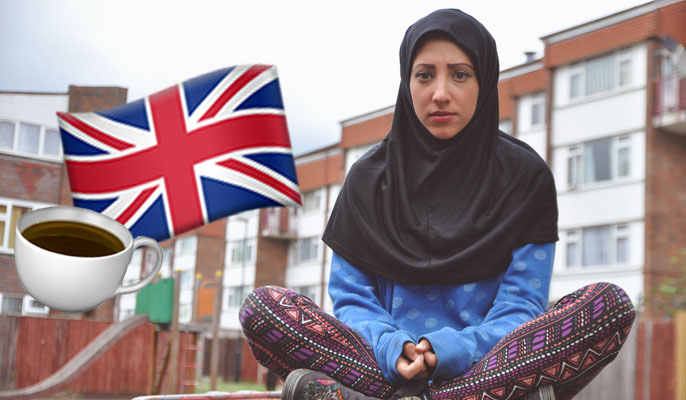 british muslim girl wearing hijab with union jack and tea