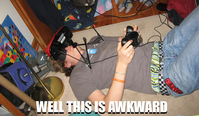 Boy playing Nintendo Virtual Boy