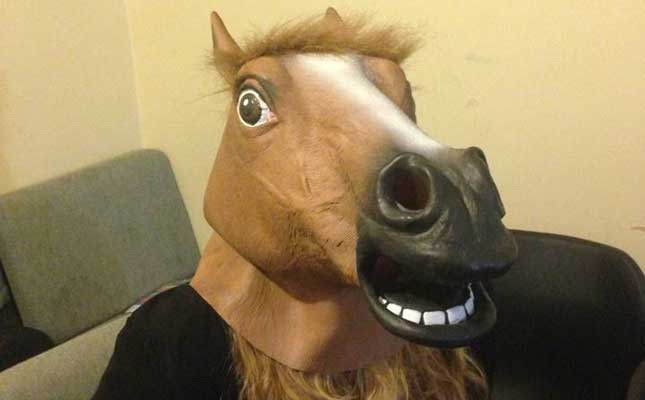 fresher in horse mask