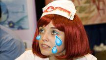 Stressed student nurse