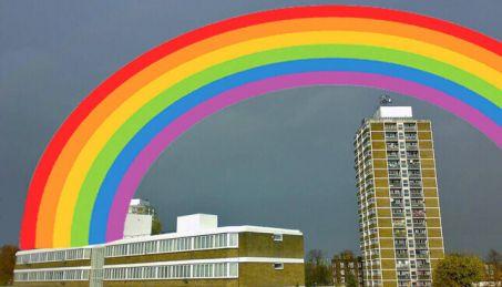 rainbow over council estate