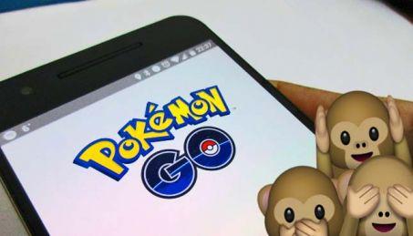 pokemon go app on phone with monkey emojis