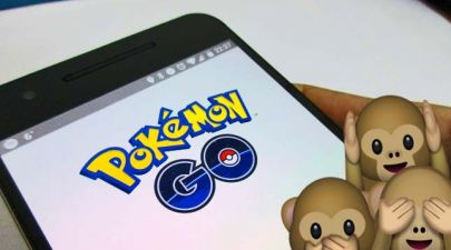 pokemon go app on phone with monkey emojis