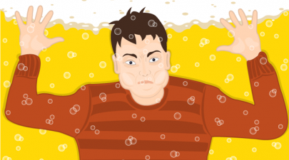 Boy drowning in beer