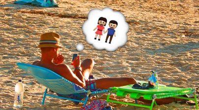 texting girlfriend on the beach