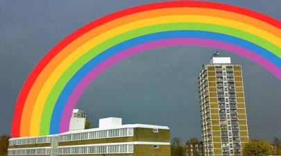 rainbow over council estate