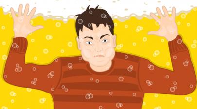 Boy drowning in beer